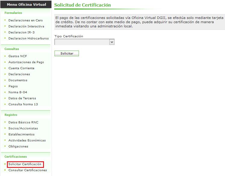 Certificaciones en línea DGII