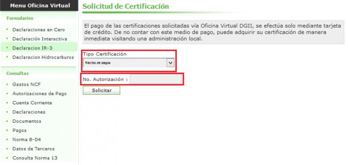 Certificación en línea DGII